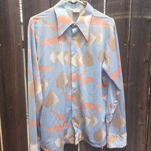 Vintage 1970s tree pattern psychedelic Button Up